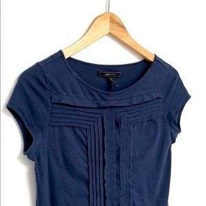 BCBG MaxAzria Short Sleeve Navy Top XS